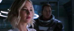 Image of Aurora with Jim in space armor watching the Chief go
