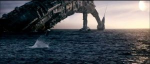 The escape pods pop out of the sea from the partially submerged Elysium.